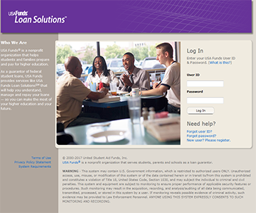 Image of USA Funds Loan Solutions homepage.