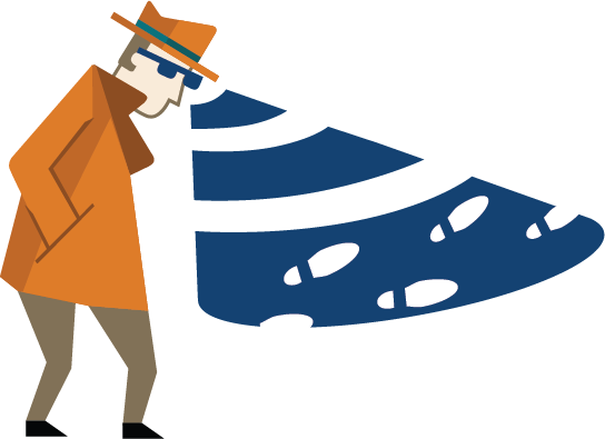 detective man looking for footprints