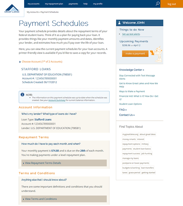 Example showing the electronic version of the Payment Schedule and Disclosures page