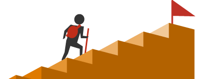 A traveller climbs stairs toward a successful repayment flag at the top.