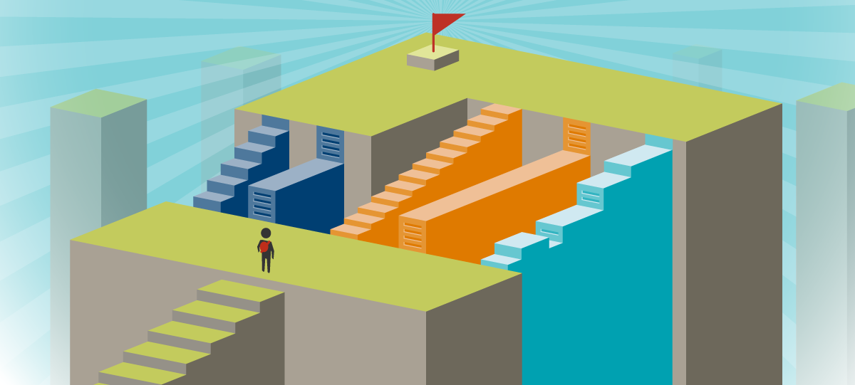 Symbolic drawing of a person looking ahead to his destination, marked by a flag at the top of a building, with several different paths in between. Each path is unique, with different colors, steps, and slopes.
