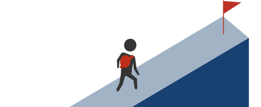 A traveller walks along a level path toward a successful repayment flag.