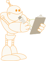 Robot with a clipboard checking off requirements for tax credits