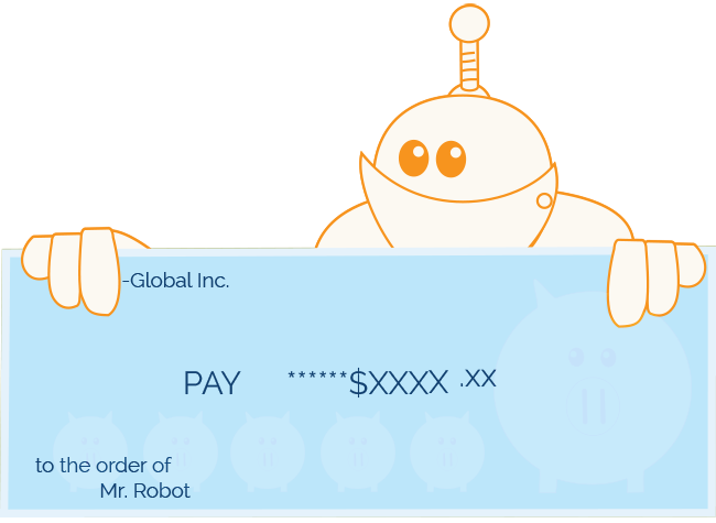 Robot holding its paycheck