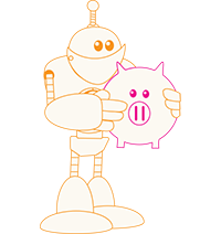 Robot holding a piggy bank to store its tax deduction money